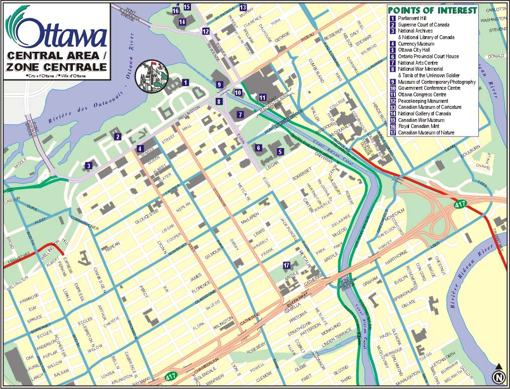 Downtown Ottawa Restaurants Map